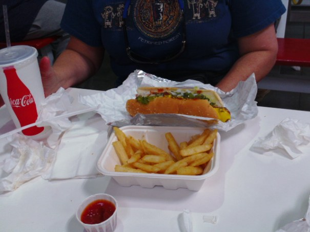Hot dog, coke and French Fries.