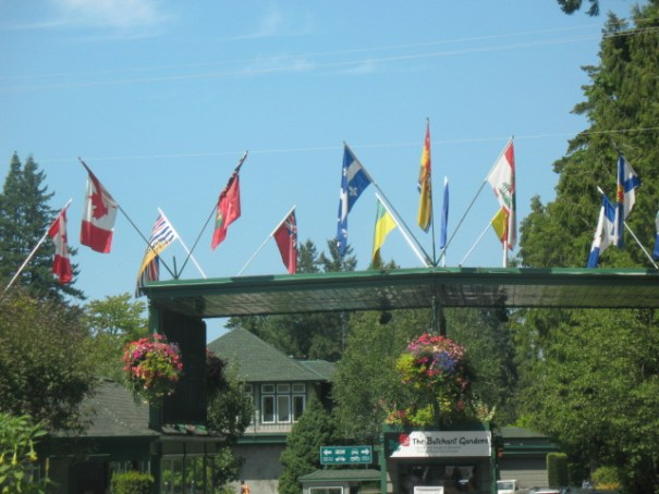 Canadian Flags over the entrance.