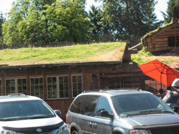 The Old Country Market in Coombs, with roof goats.