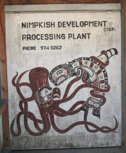 This is a sign on the side of a large waterfront factory that reminded me of Cannery Row.  I loved the art of a giant squid fighting with a killer whale, in native motif.