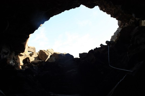 Looking back up from the entrance into the ice cave.  Goodbye light, life.