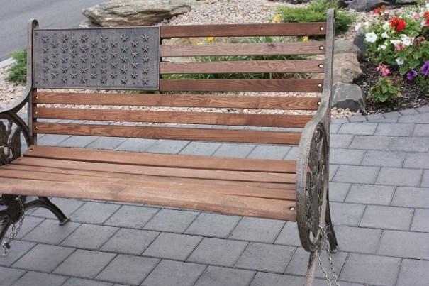Patriotic bench.
