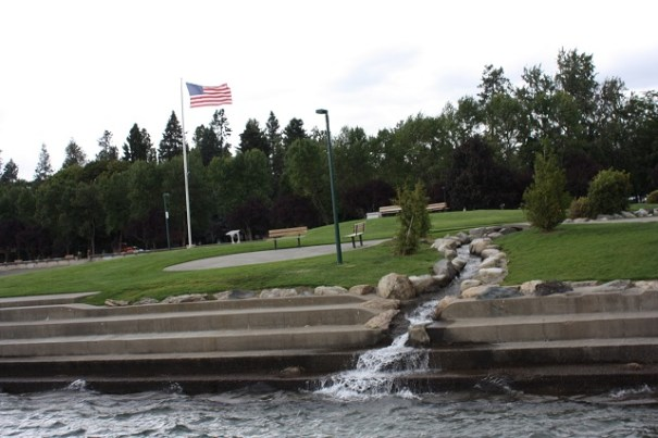 Nice park management of a stream that flows through the park and into the lake.