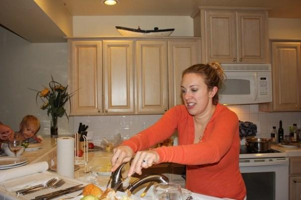 Danielle prepping Samantha's dinner.