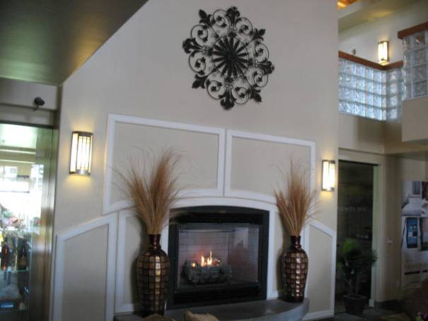 Nice fireplace in the lobby.