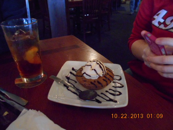 Lex's Lava Chocolate Chip Cookie with Vanilla Ice Cream and Chocolate syrup.