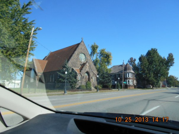 We drove through Cario, Illinois.  Lex observed that it looked like a ghost town.  I agreed.  Above is a beautiful church, next door is an abandoned house, with windows knocked out and left to rot.  Lots of poverty and very sad looking.