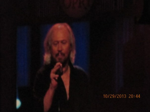 Barry Gibb.  He was excellent.  His first song was good, but sad.  He and his brothers put up such a sound wall, now with just him, you can't help but miss the others.  He looked and sounded in really good shape.