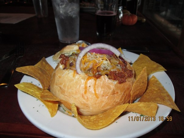Edie's chili bread bowl.  She preferred the sour dough to the chili.  The chili was more stew like.