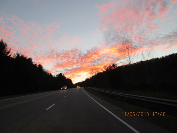 """Red sky at night, sailors delight.""  A pretty sunset on the way home."