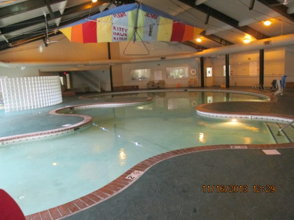 Nice indoor pool.  A little cool to the touch.  Behind the glass wall is the hot tub.