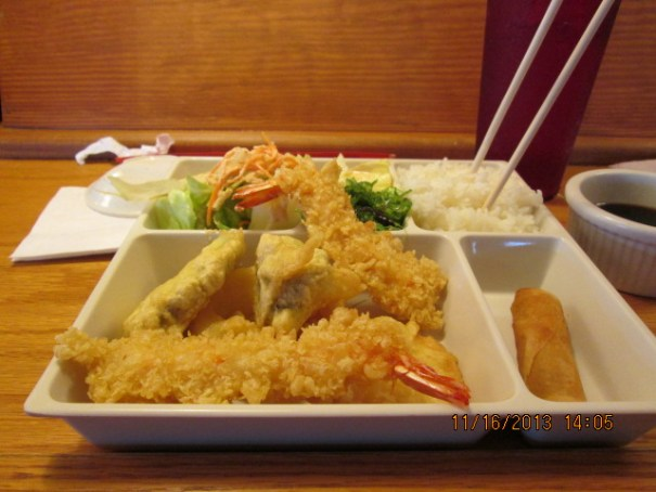 Edie had a tempura shrimp, rice, salad, and roll combination.  She said it was very good.