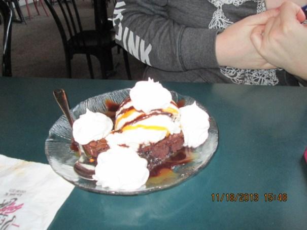 Lex's chocolate brownie sundae.