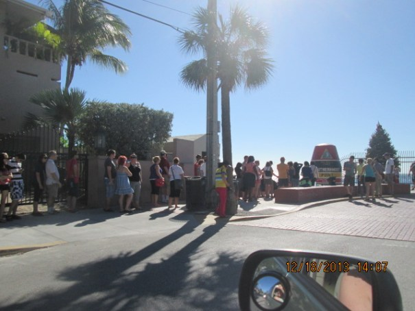 Folks lined up to take their picture next to the southernmost marker.  We would later join the line.
