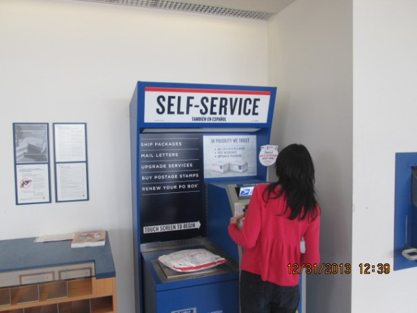 I was forced to use this self-service kiosk.  This lady only had cash, turned and asked us in line if she could use our card and give us the cash.  I locked up.  A really nice and naive young woman used her debit card and got the lady on her way.  I figured that I don't know her, what she is shipping, what may really be in the package and I just didn't want my credit or debit card associated with a random package.  I mailed a medium priority box and it was pretty easy.