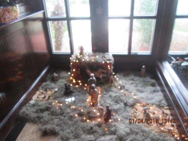 Christmas Nativity scene at the restaurant.