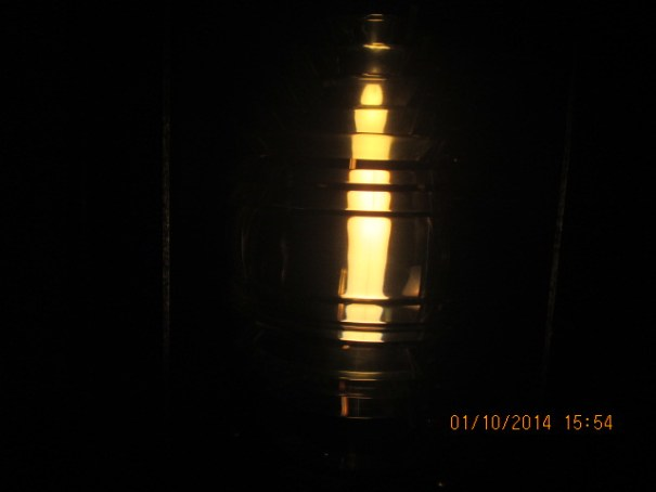 A demonstration Fresnel lens showing the long wide light that is unmistakable to ships at sea.