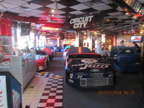 Cruisin Cafe, Lex's choice.  Okay, really more of a bar than a restaurant.  Had a nice NASCAR decor.
