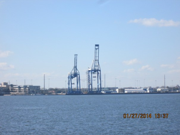 Working docks in Charleston, can't help but think of giraffes.