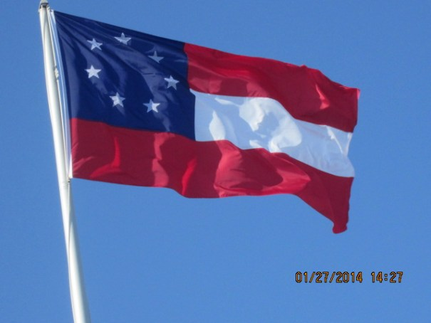 "The first Confederate flag, called, The Stars and Bars""."