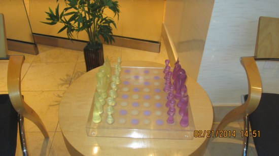 A nice chess set in the lobby.