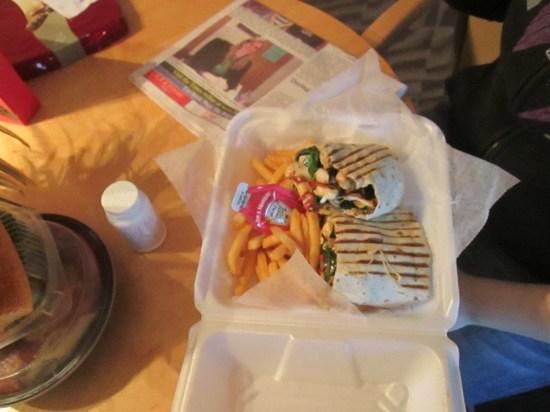 "Lex had the ""Atta Boy Wrap"" with fries."