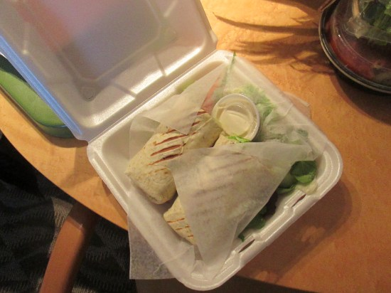 I had a chicken wrap with salad.