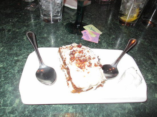 Edie and I split a carrot cake.  Thick, rich, delicious.