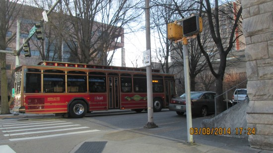 Knoxville buses are painted to look like trolley cars.