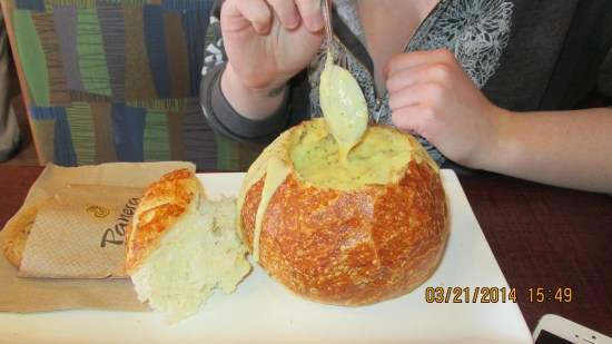 This is I think her 3rd serving of broccoli cheddar soup, she may need help to get off it.