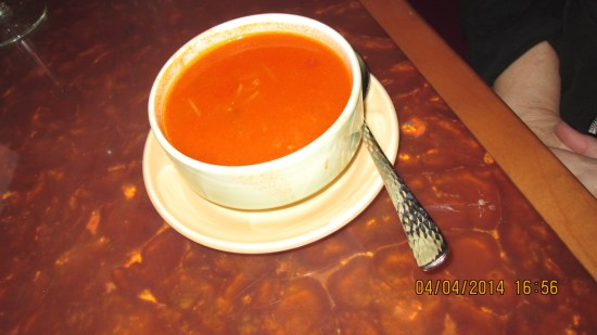 Edie's soup, tasted like tomato soup with fine noodles inside.