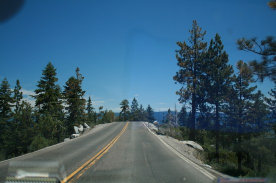 My favorite part of the road on the California side where there is a steep drop off on both sides.
