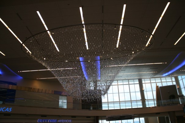Cleared security and came to an area with this great chandelier.