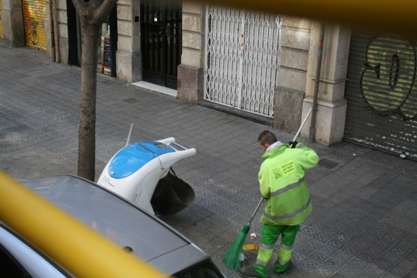 They have a little graffiti, but they also have street and sidewalk sweepers, lots of them.