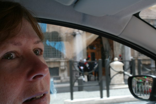 That's the look...nostrils flared, eyes wide open, head sweeping left to right, Edie driving in Rome.