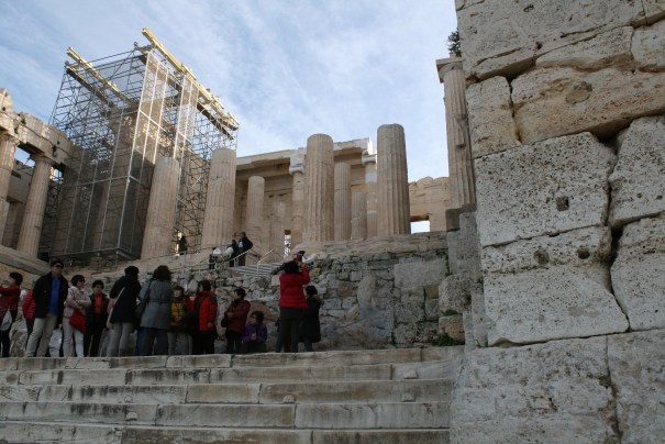 Entrance to the Acropolis.  I found myself begin to start hoping for no earthquakes as I walked along the columns.