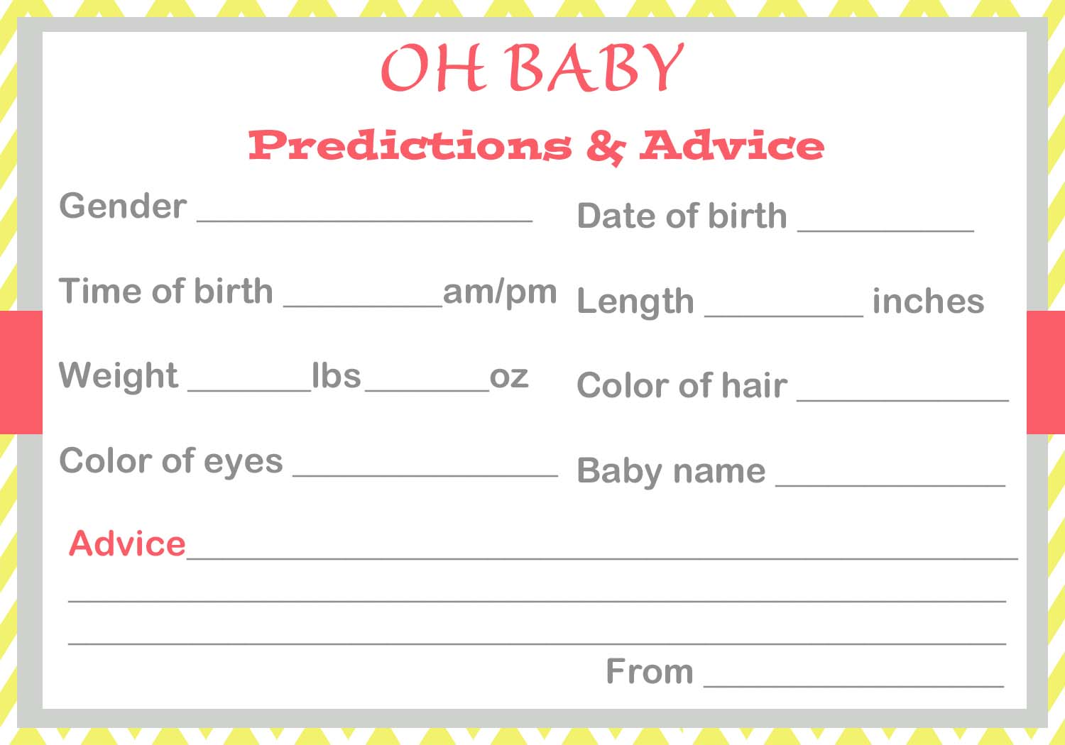 Baby Shower Baby Prediction Cards