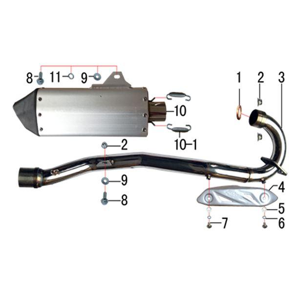 m2r m1 250cc dirt bike rear muffler silencer spring