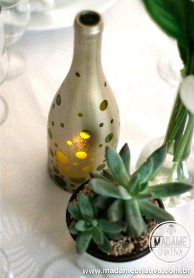 金色圓點噴漆DIY酒瓶蠟燭燭台