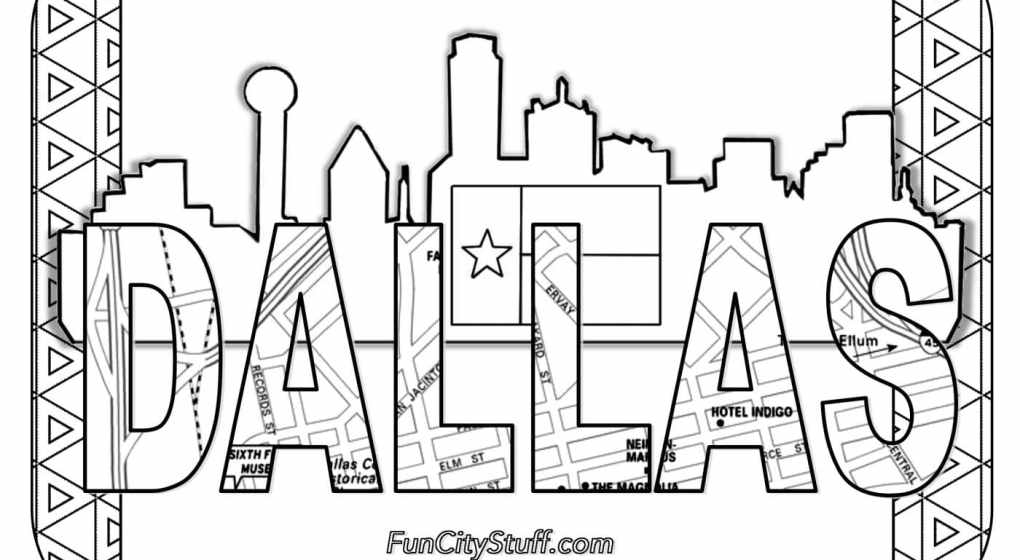 dallas skyline coloring pages - photo#1