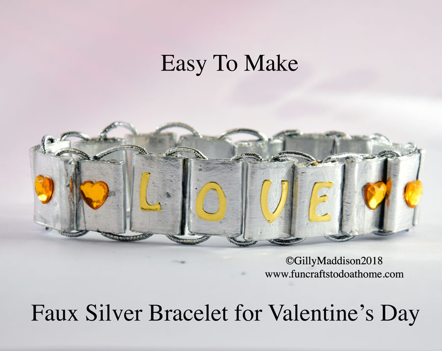 Faux Silver Bracelet For Valentine's Day