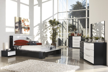 b850 piroska black/white bedroom set signature design by ashley