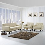 Engage 3 Piece Leather Living Room Set Beige By Modern Living