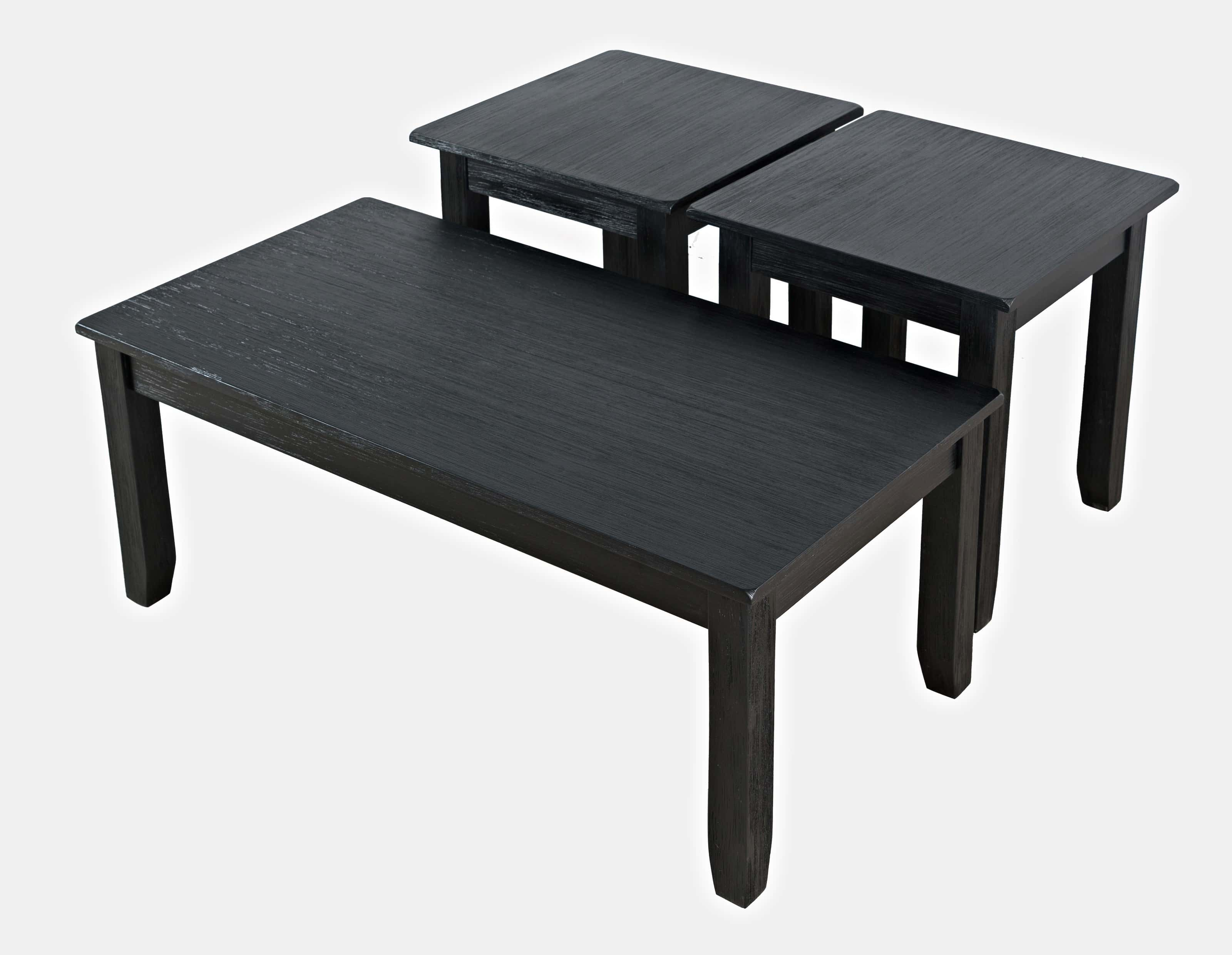eros brushed black coffee table two end tables by jofran