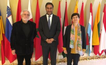The president of the ACM Foundation, Vicent Garcés with the Secretary General of the Union for the Mediterranean, Fatahllah Sijilmassi and the Head of the Civil Society of the organization, Laurence Païs