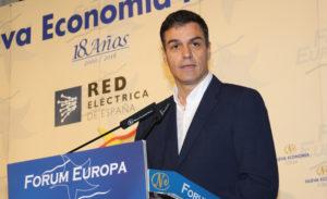 Pedro Sánchez en su intervención en el Fórum Europa