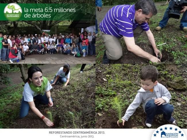 Siembra en Parque Jacarandas de Cayalá en el marco de la campaña regional REFORESTANDO CENTROAMÉRICA. Fundación Esquipulas para la Integración Centroamericana, Amigos por el Ambiente, CONJUVE, INAB.