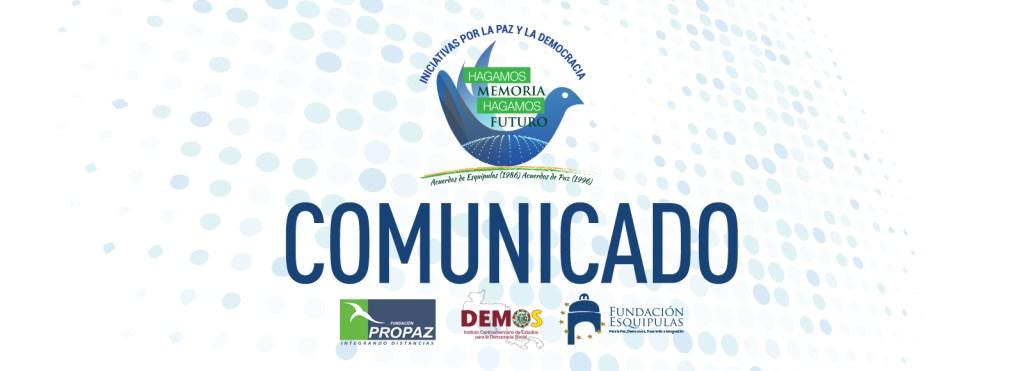 Comunicado de presa Iniciativas por la Paz y la Democracia