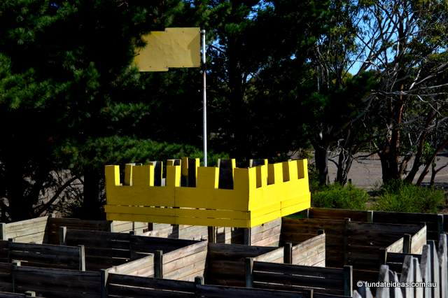 Yellow Castle, amongst a wooden maze