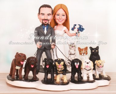 Dogs and Cats Wedding Cake Toppers with Paw Print Base